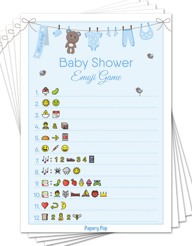 Baby Shower Emoji Game Cards (Pack of 50) - Baby Shower Games for Boys - Party Activities Ideas Supplies