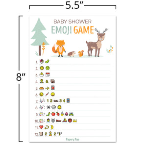 Baby Shower Emoji Game Cards (Pack of 50) - Baby Shower Games for Boys or Girls - Gender Neutral - Party Activities Ideas Supplies - Woodland