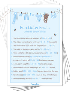 Fun Baby Facts Game Cards (Pack of 50) - Baby Shower Games Idea for Boy - Party Activities Supplies