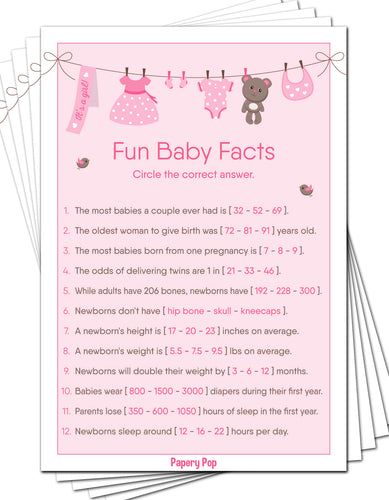 Fun Baby Facts Game Cards (Pack of 50) - Baby Shower Games Idea for Girl - Party Activities Supplies