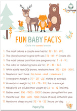 Fun Baby Facts Game Cards (Pack of 50) - Baby Shower Games Ideas for Boy or Girl - Party Activities Supplies - Woodland