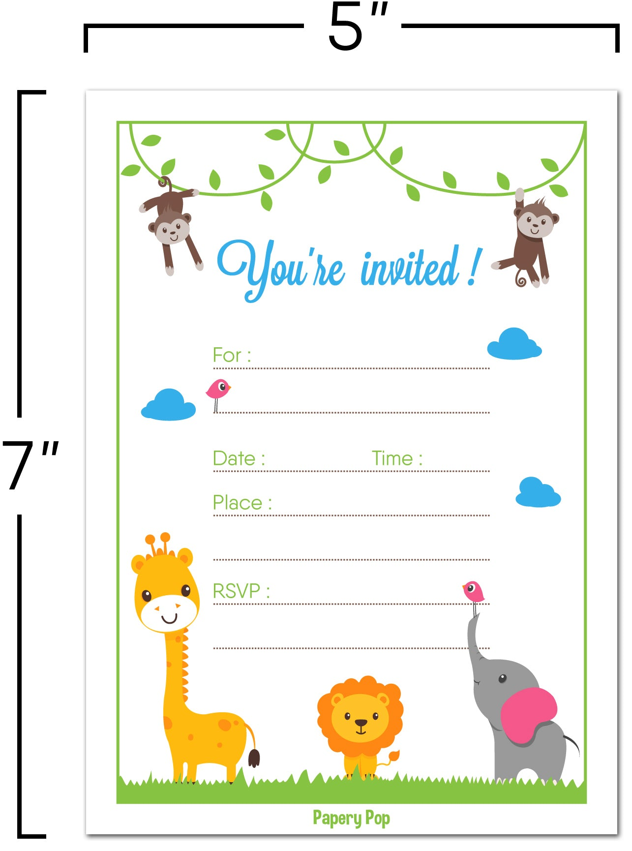 30 Invitations with Envelopes - Any Occasions - Safari Jungle Zoo ...