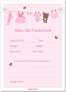 30 Baby Shower Prediction and Advice Cards for the Baby Girl