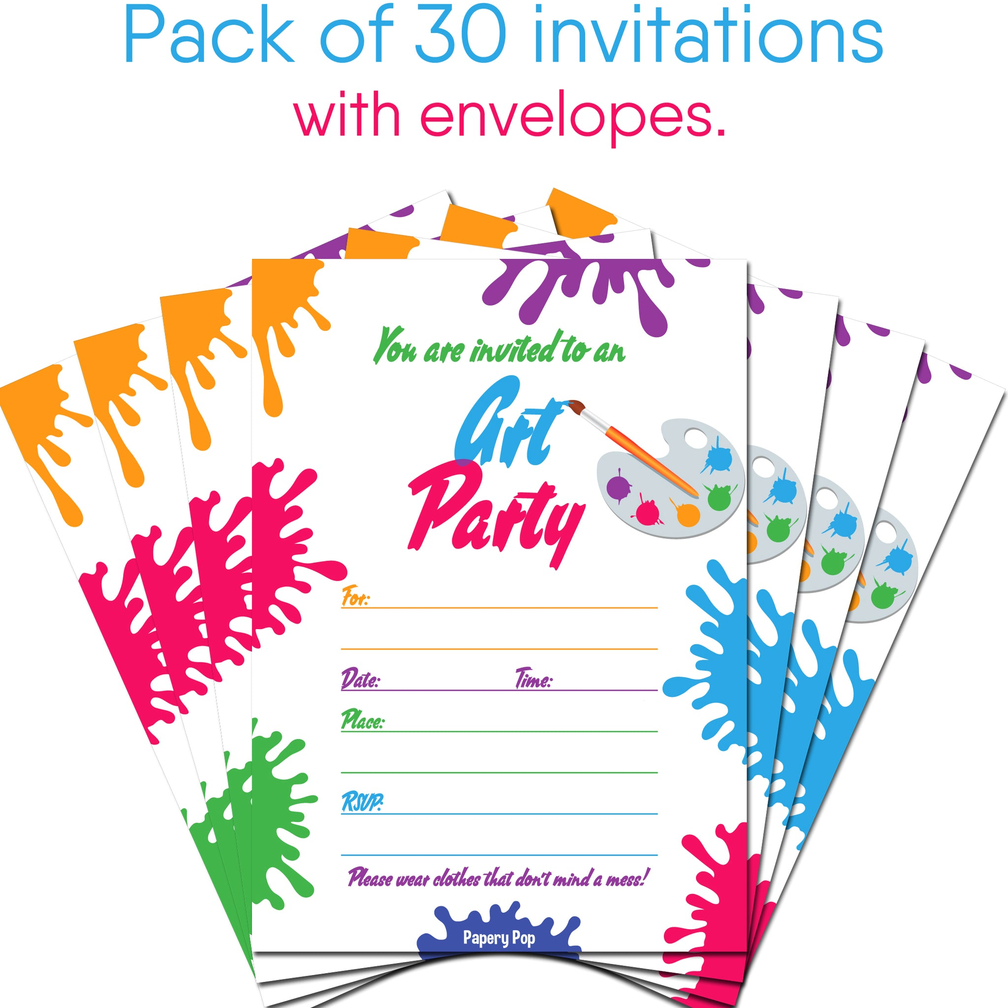 30 Art Party Invitations with Envelopes - Kids Birthday Party ...