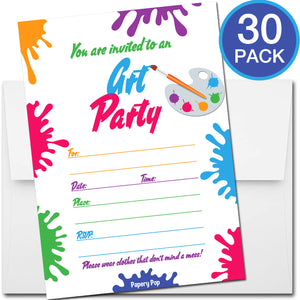 30 Art Party Invitations with Envelopes - Kids Birthday Party Invitations for Boys or Girls