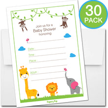 30 Baby Shower Invitations with Envelopes - Safari Jungle Animals