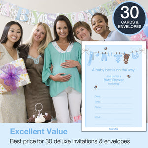 30 Baby Boy Shower Invitations with Envelopes - Fill In Style