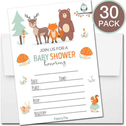 30 Baby Shower Invitations with Envelopes - Woodland