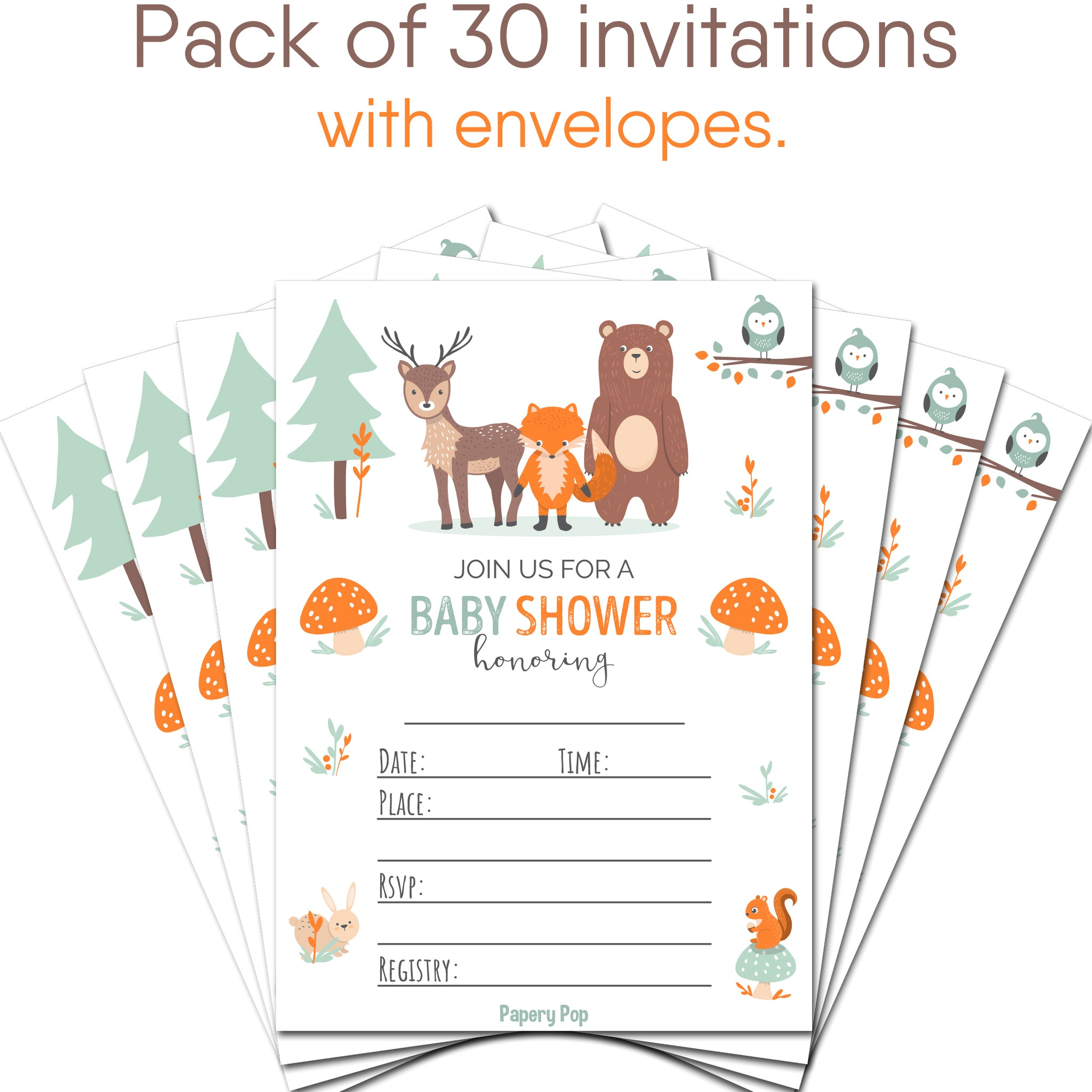 30 Baby Shower Invitations With Envelopes  Woodland
