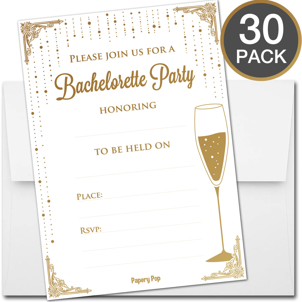 30 Bachelorette Party Invitations with Envelopes - Girl's Night Out Invitations, Hen Party Invitations - Gold