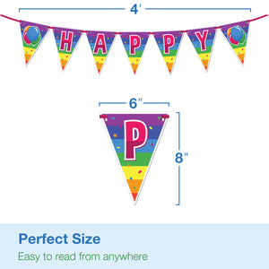 Happy Birthday Banner - Kids Birthday Decorations for Boys or Girls - Colorful Rainbow Birthday Party Supplies
