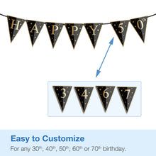 Happy Birthday Banner - 30th 40th 50th 60th 70th Birthday - Adult Birthday Party Decorations - Gold Birthday Party Supplies
