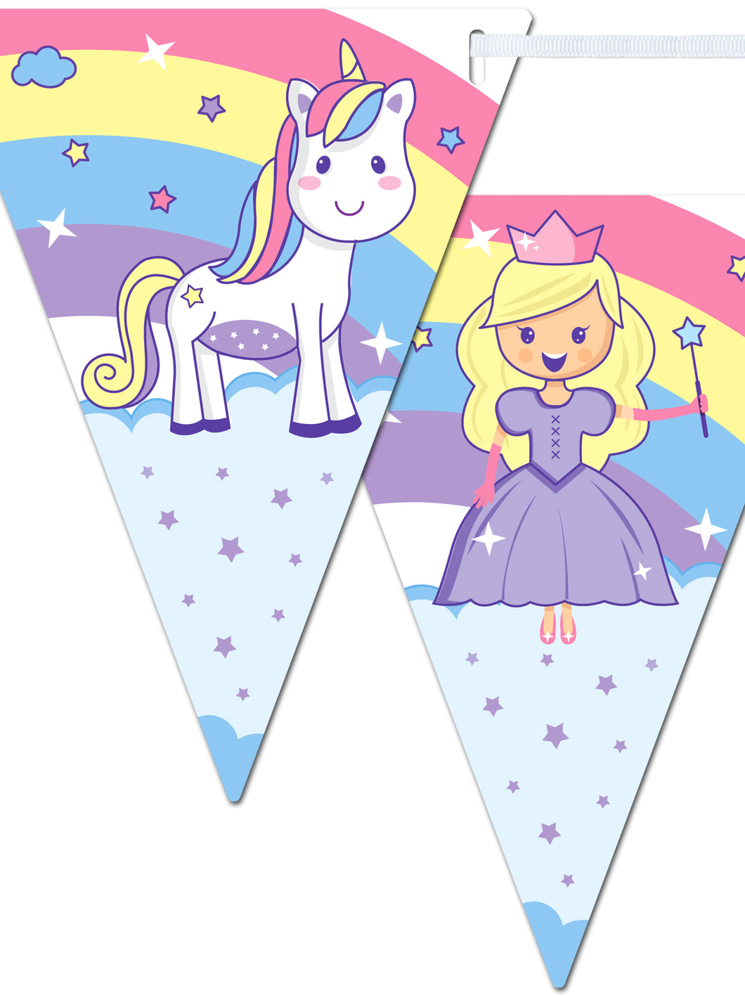 Unicorn and Princess Happy Birthday Banner - Kids Birthday Decorations for Girls - Rainbow Unicorn Party Supplies