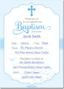 30 Baptism Invitations for Boys (with Envelopes) - Fill In Style