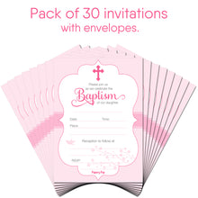 30 Baptism Invitations for Girls (with Envelopes) - Fill In Style