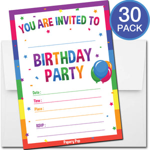 30 Colorful Rainbow Birthday Invitations with Envelopes - Kids Birthday Party Invitations for Boys or Girls