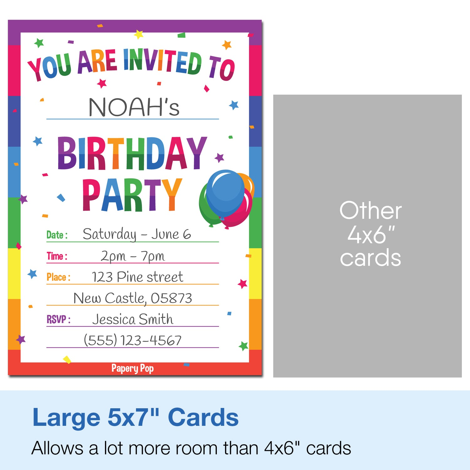 30 Colorful Rainbow Birthday Invitations with Envelopes - Kids ...