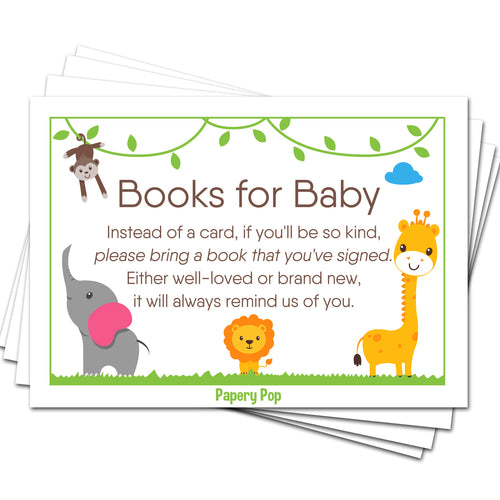 50 Books for Baby Shower Request Cards for Boy or Girl (50 Pack) - Bring a Book Instead of a Card - Safari Jungle Zoo Animals