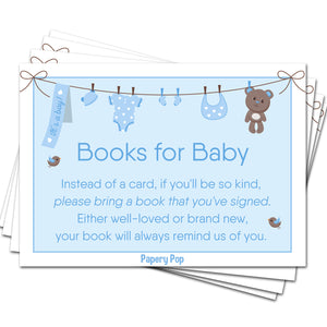 50 Books for Baby Shower Request Cards for Boy (50 Pack) - Bring a Book Instead of a Card
