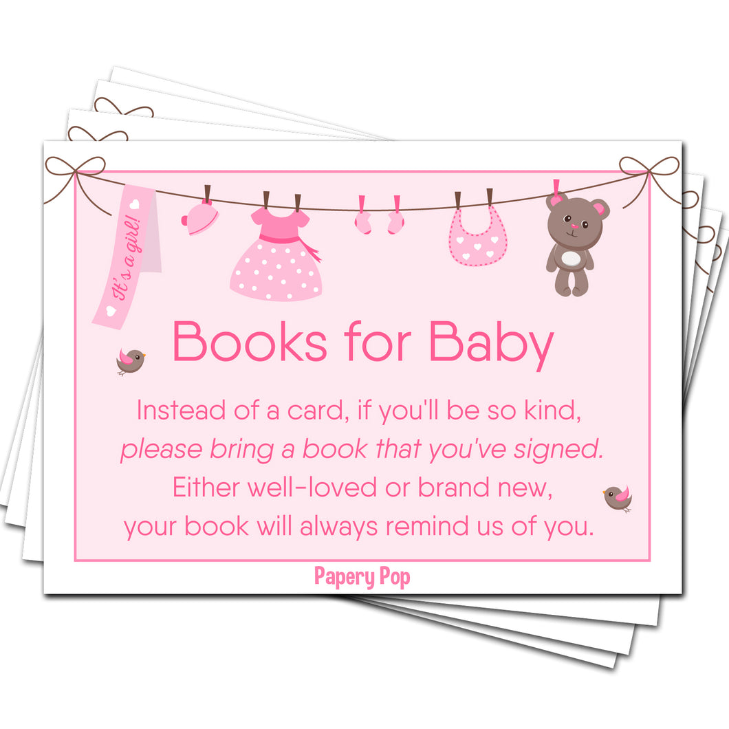 50 Books for Baby Shower Request Cards for Girl (50 Pack) - Bring a Book Instead of a Card