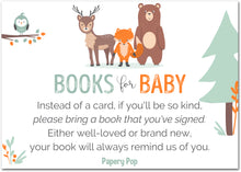 50 Books for Baby Shower Request Cards for Boy or Girl (50 Pack) - Bring a Book Instead of a Card - Woodland Animals