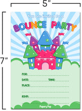 30 Bounce House Birthday Invitations with Envelopes - Kids Birthday Party Invitations for Boys or Girls