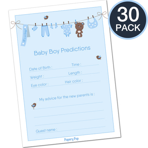 30 Baby Shower Prediction and Advice Cards for the Baby Boy