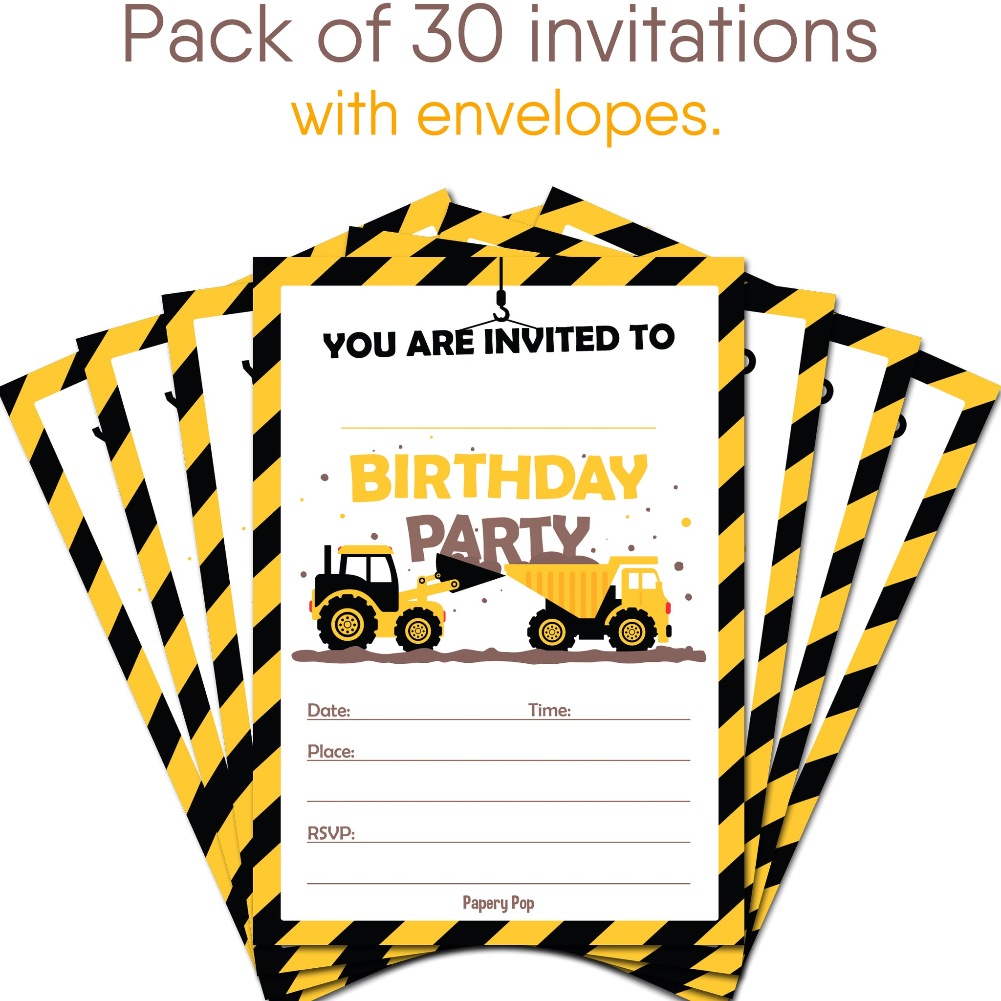 30 Construction Dump Trucks Birthday Invitations with Envelopes ...