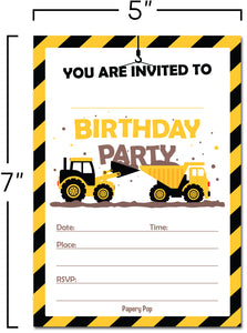 30 Construction Dump Trucks Birthday Invitations with Envelopes - Kids Birthday Party Invitations for Boys