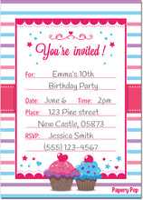 30 Invitations with Envelopes - Any Occasions - Cupcake Theme - Girl's Birthday Party