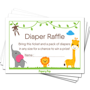 50 Diaper Raffle Tickets for Baby Shower Boy or Girl (50 Pack) - Bring a Pack of Diapers to Win a Prize - Safari Jungle Zoo Animals