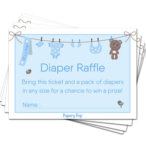 50 Diaper Raffle Tickets for Baby Shower Boy (50 Pack) - Bring a Pack of Diapers to Win a Prize