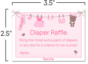 50 Diaper Raffle Tickets for Baby Shower Girl (50 Pack) - Bring a Pack of Diapers to Win a Prize
