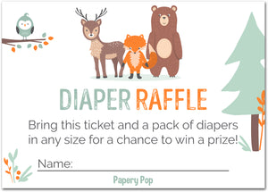 50 Diaper Raffle Tickets for Baby Shower Boy or Girl (50 Pack) - Bring a Pack of Diapers to Win a Prize - Woodland Animals