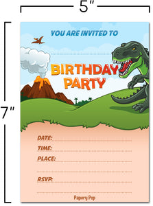 30 Dinosaurs Birthday Invitations with Envelopes - Kids Birthday Party Invitations for Boys