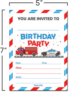 30 Birthday Invitations with Envelopes - Kids Birthday Party Invitations for Boys or Girls - Firetruck Police Fire Truck Vehicles