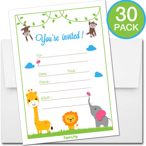 30 Invitations with Envelopes - Any Occasions - Safari Jungle Zoo Animals Theme - Baby Shower, Birthday Party