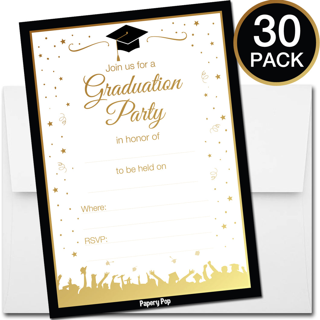 30 Graduation Party Invitations with Envelopes - 2018 Grad Celebration Announcement Cards