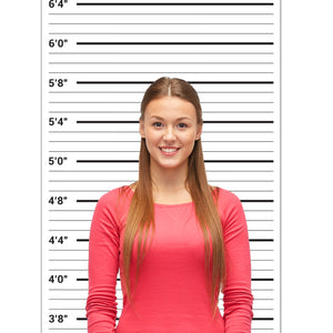 Mugshot Backdrop - Photo Booth Props Height Chart Poster - Mug Shots Prison Police Lineup - 24 by 48 Inch