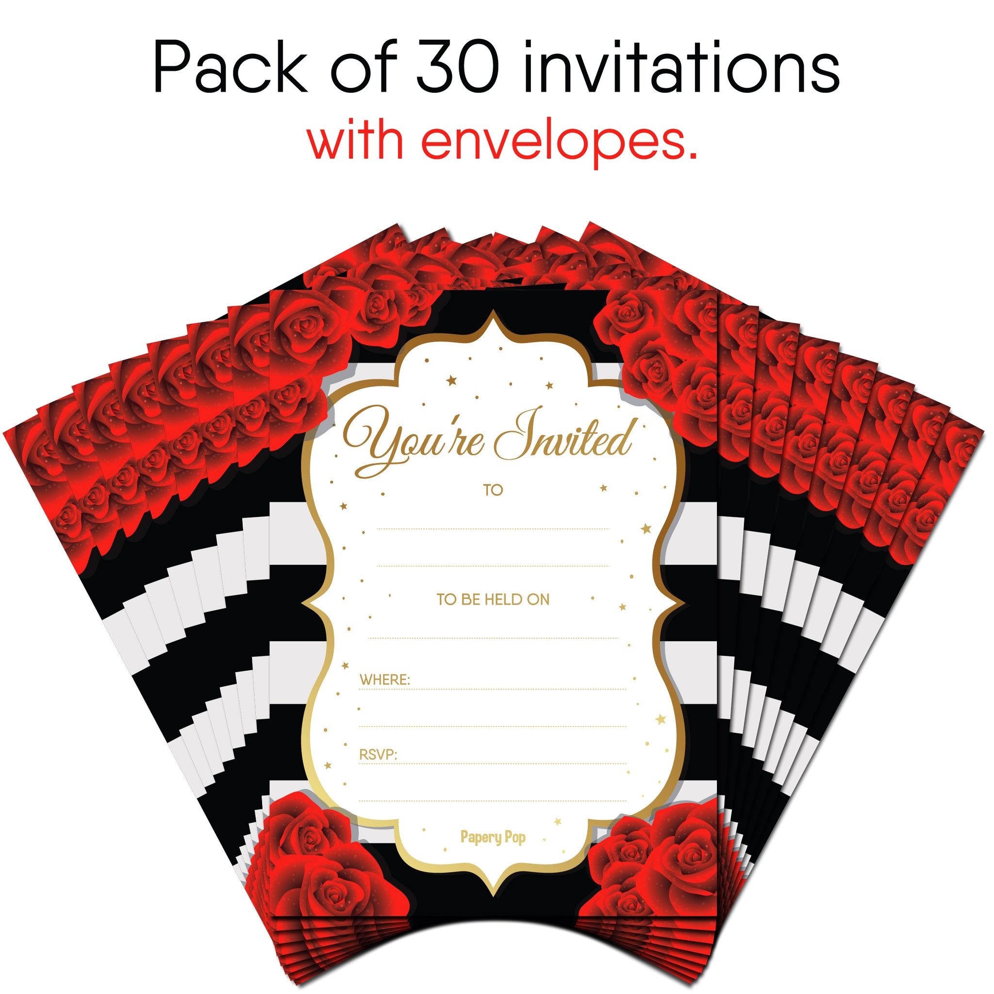 30 invitations with envelopes any occasions bridal shower wedding shower bachelorette party