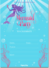 30 Mermaid Party Invitations with Envelopes - Kids Birthday Party Invitations for Girls