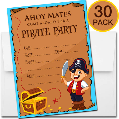 30 Pirate Birthday Invitations with Envelopes - Kids Birthday Party Invitations for Boys or Girls