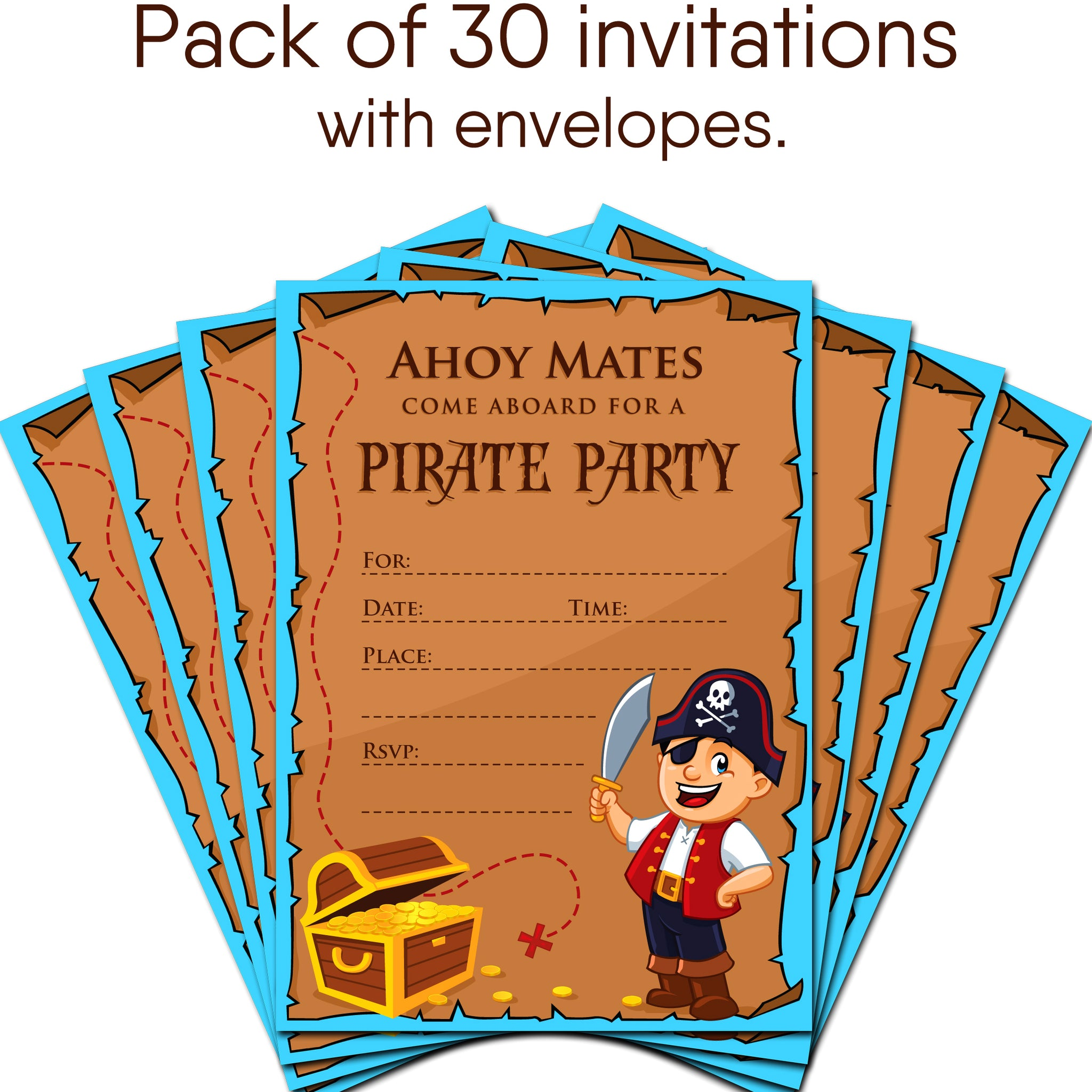 30 Pirate Birthday Invitations with Envelopes - Kids Birthday Party ...