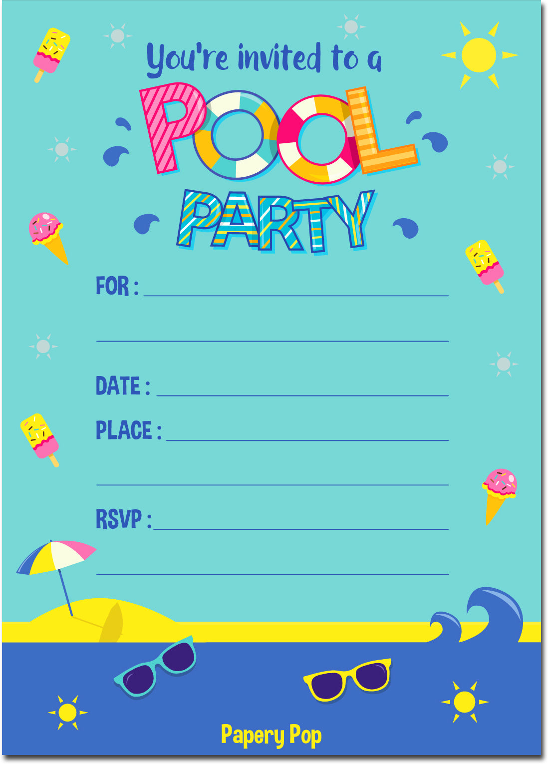 30 pool party invitations with envelopes