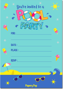 30 Pool Party Invitations with Envelopes - Kids Birthday Party Invitations for Girls