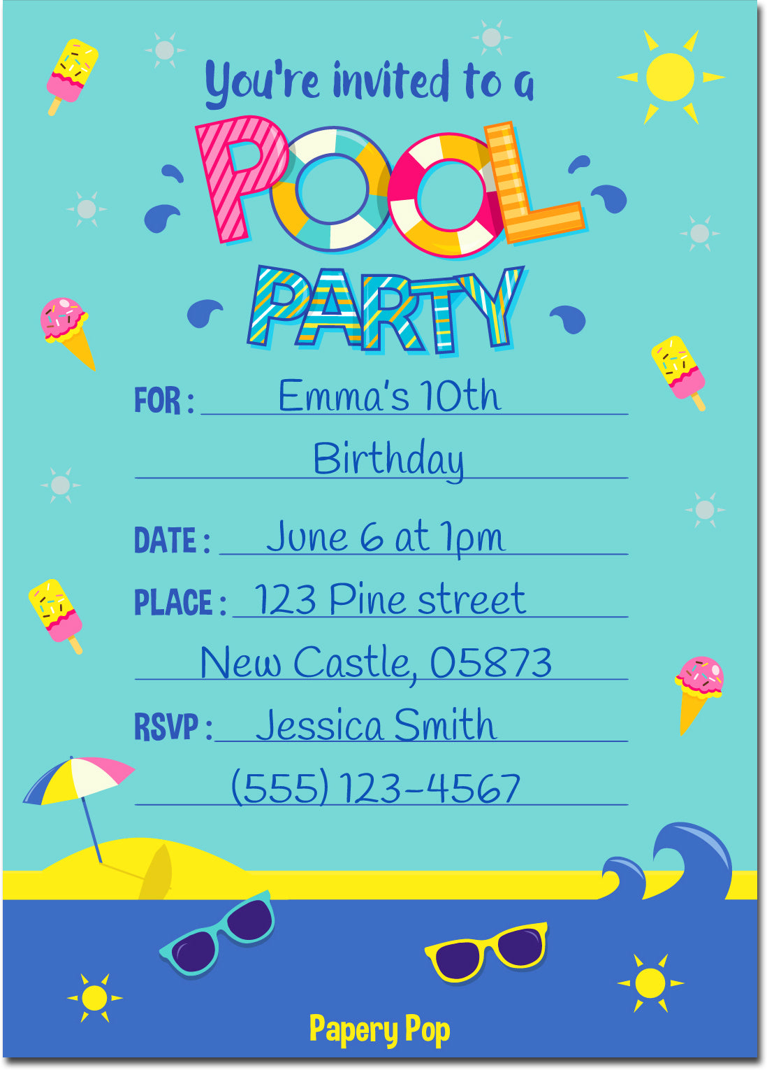 30 Pool Party Invitations with Envelopes - Kids Birthday Party ...