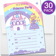30 Princess Birthday Invitations with Envelopes - Kids Birthday Party Invitations for Girls