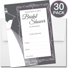 30 Bridal Shower Invitations with Envelopes - Wedding Shower Invitations - Grey