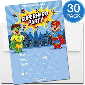 30 Superhero Birthday Invitations with Envelopes - Kids Birthday Party Invitations for Boys