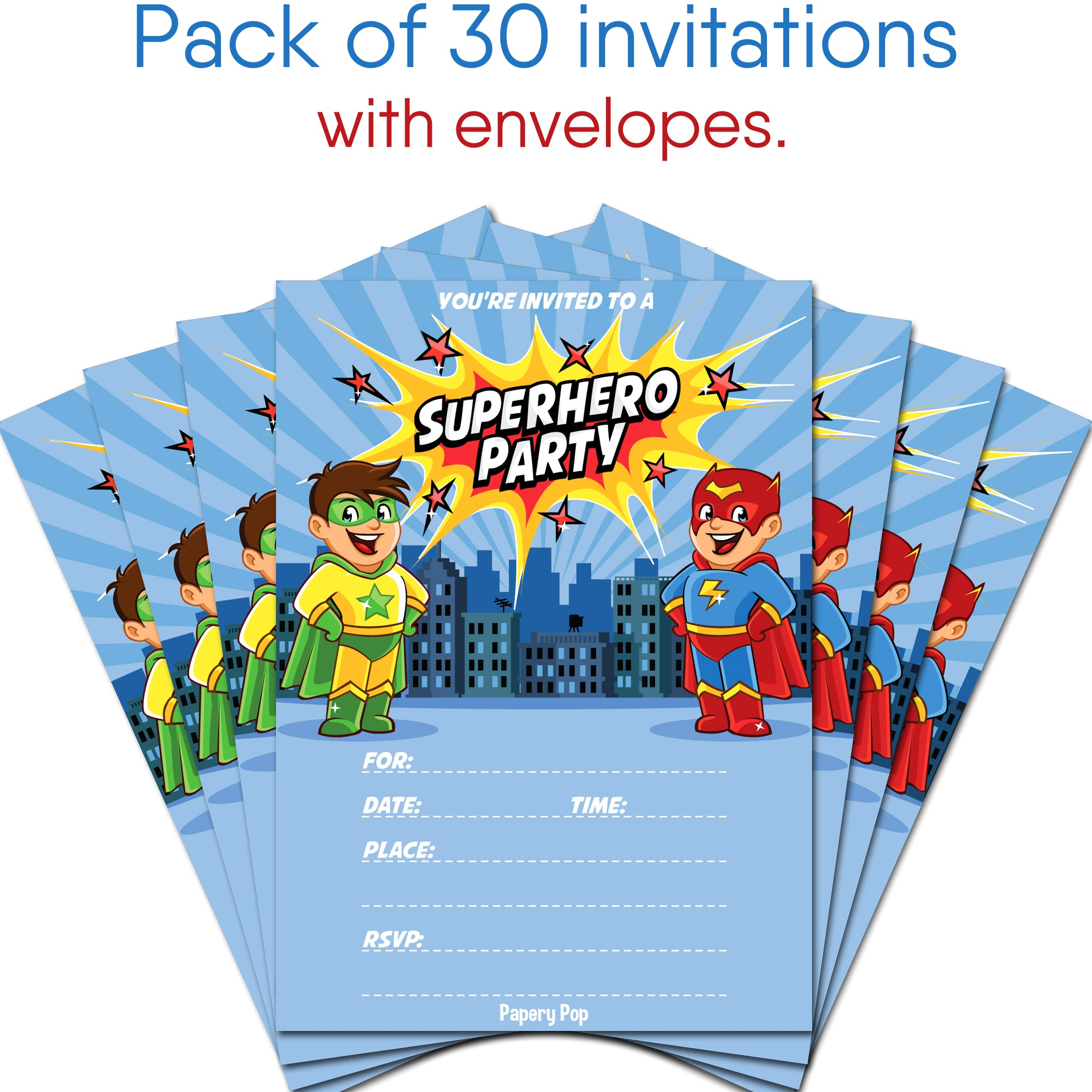 30 Superhero Birthday Invitations with Envelopes - Kids Birthday ...